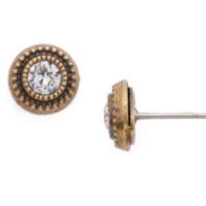 NWT SORRELLI round stud macrame earring crystal